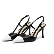 2019 spring and autumn womens sandals new color matching pointed toe 7.5CM stiletto shoes women