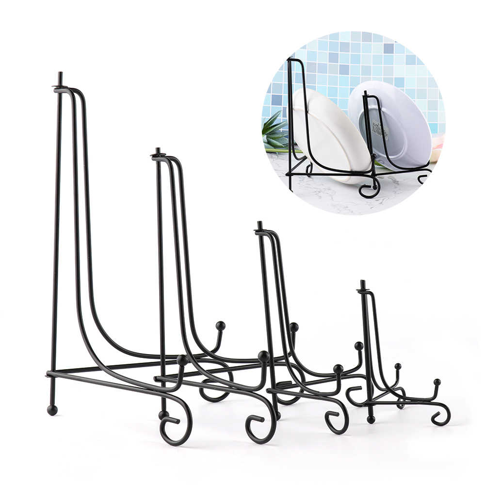 1/5Pcs DIY Craft Bracket Book Holder Photo Pedestal Bowl Picture Frame Black Iron Plate Rack Display Stand Easel Storage Holders