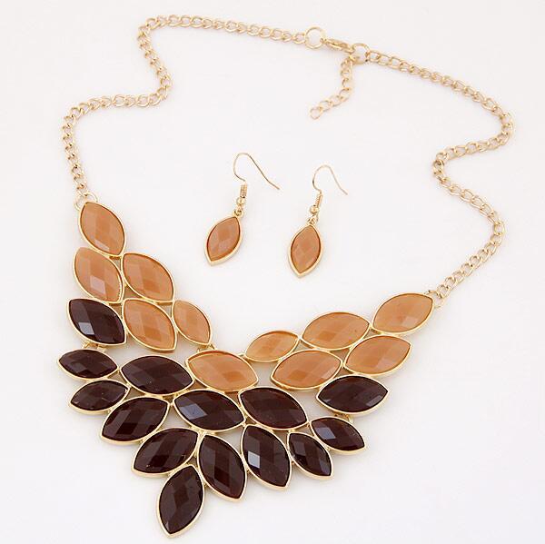 221d52a7fdbe Nanbo spx6933 moda Venta caliente collar Juegos de joyería hojas resina  Collares con Pendientes al por mayor