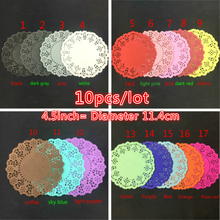 10pcs 4.5inch Diameter 11.4cm Scrapbooking Vintage Lace Paper napkin decoupage table doily placemat decoration accessories