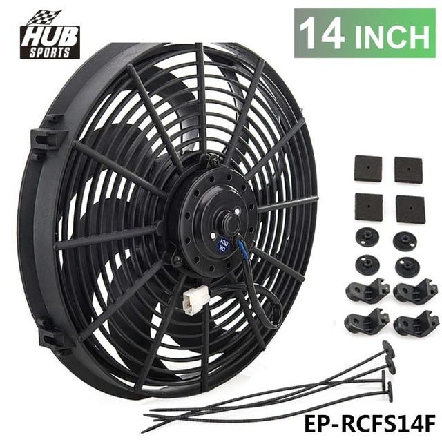 Racing Car Universal 12v 14 Electric Fan Curved S Blades Radiator Cooling Hu Rcfs14f