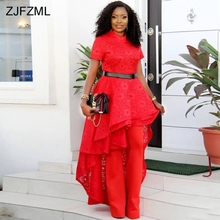 ZJFZML Lace Patchwork Sexy Front Short Back Long Dresses Women Red Scoop  Neck Short Sleeve Party 40aeaf2c1e04