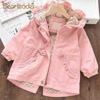 Bear Leader Girls Coats New Autumn Kids Jacket Full Sleeve with Cap Zipper Kids Coats Floral Girl Children Clothes Cute Clothing