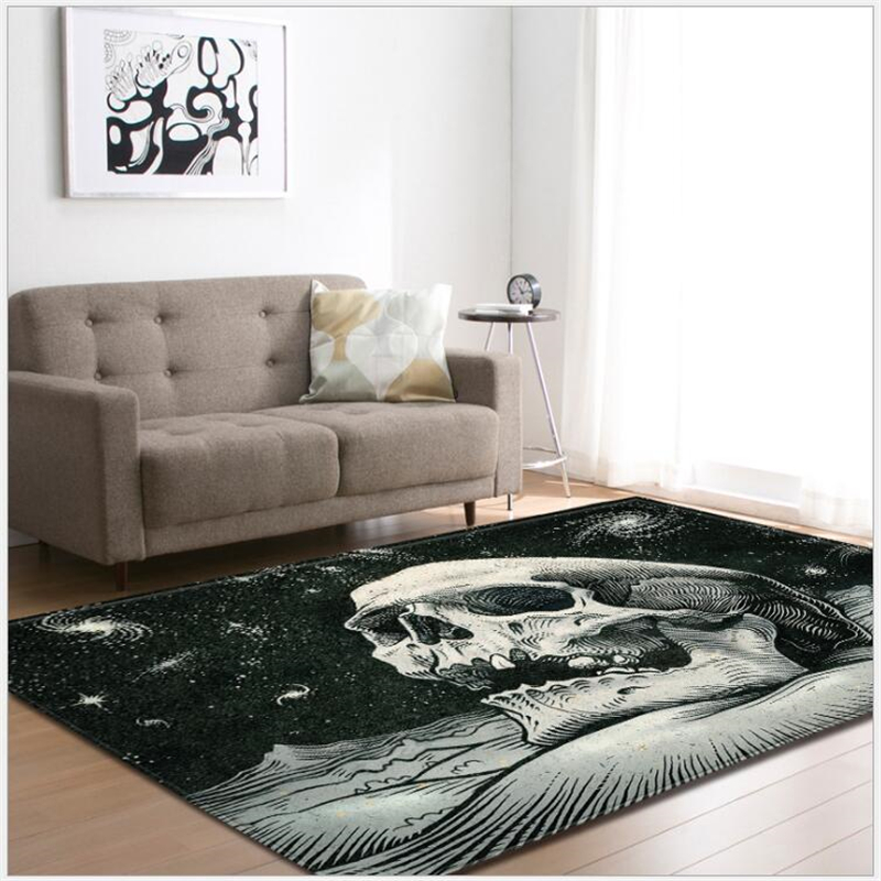 Area Rug For Living Room Skull Pattern