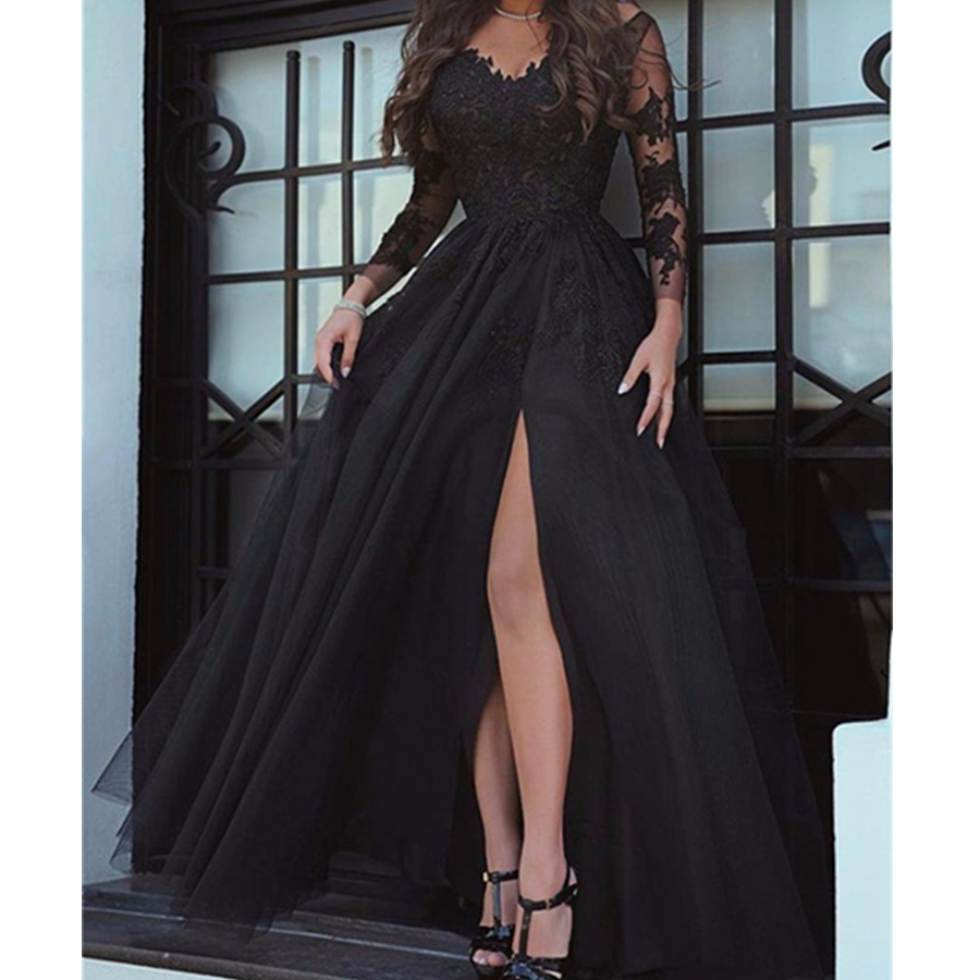 New Glamorous Long Sleeve Black Slit Lace Evening   Dress   Sexy   Prom     Dresses   Floor Length Formal Party Evening Gowns