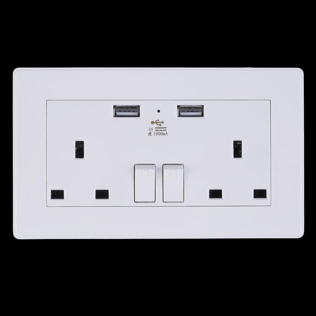 hot 2 Gang Wall Socket Dual USB Port Outlets Plate Panel Power Supply UK Plug 250v 10a double 2 gang uk us wall plug socket with 2 usb charger port outlets