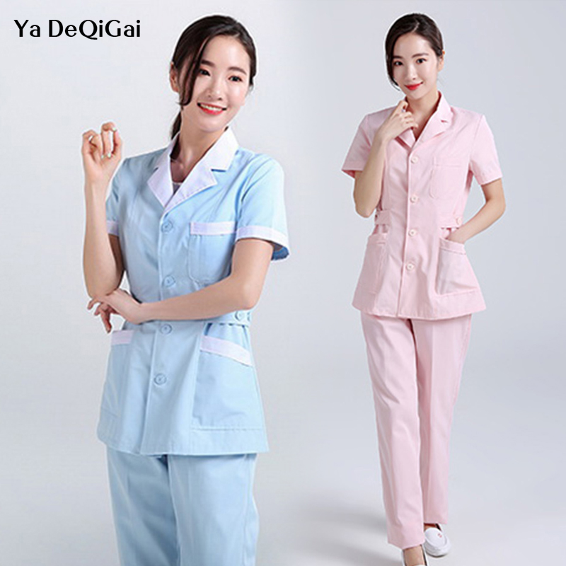 Long Robe Hospital Medical Clothing Nursing Solid Color For Women Summer And Winter Uniforms Cotton Soft Fabric Nurse Coat +pant