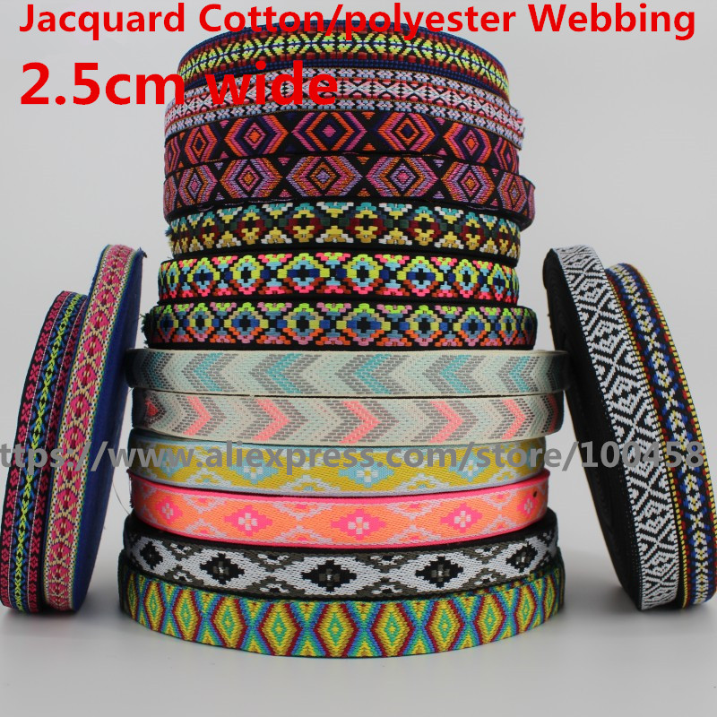 2.5 cm Wide Colorful Jacquard Cotton/polyester Webbing Tape Bag Straps Belt Waistband Webbing Upholstery furniture 5 yard