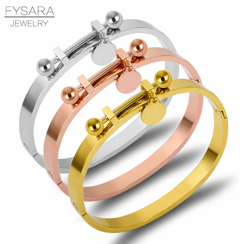 FYSARA Stainless Steel Tag Bracelet Bangles Women Accessories Rose Gold Color Pulseiras Luxury Brand Bracelets Classic Jewelry