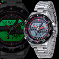 NORTH LED Digital Watch Men Luxury Brand Quartz Wristwatch Wach Stainless Steel Clock Male Waterproof Military Sport Watch Men