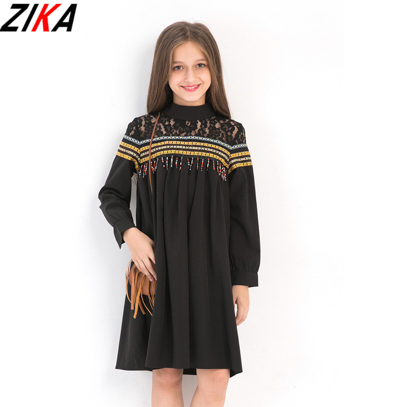 ZIKA Big Girls Lace Openwork Dresses Tassel Polyester Ball Gown Kids Costume Teens Girls Vestidos Black Children Dress 6-15T dabuwawa 2017 vintage plaid vest skirt natural waisted elegant pencil button skirt autumn winter jumper skirt d17ddx018