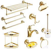 Gold plated brass carved soap net European bathroom pendant set bathroom creative shower baskets bathroom hardware accessories