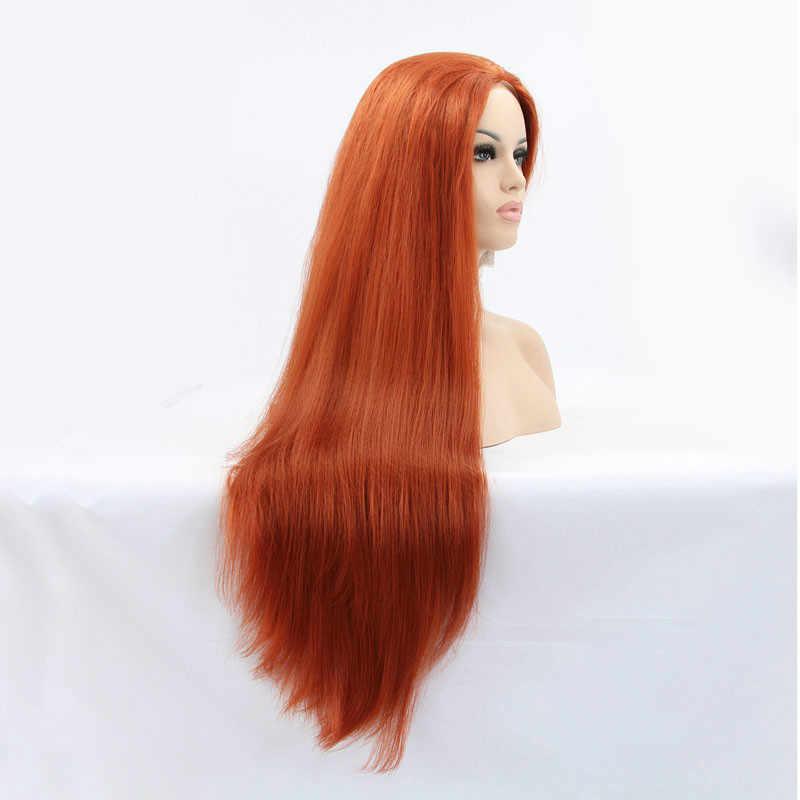Sylvia 360 # Yaki Düz Saç Peruk Yumuşak Saç Sentetik Dantel Ön Peruk ısıya dayanıklı iplik Uzun Peruk Kadınlar Için Cosplay