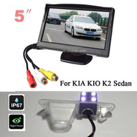LED Night Vision Reversing CCD Rear View Camera For KIA KIO K2 with 5 Inch Parking Monitors Video Player + 2 Video Input