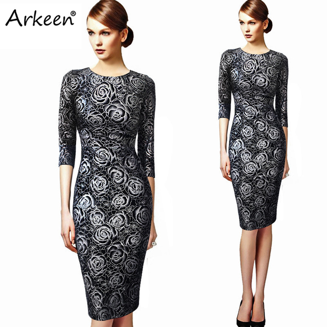 Women Sexy 2017 Floral Punk Midi Dresses Boho Pencil Party Kleider ...