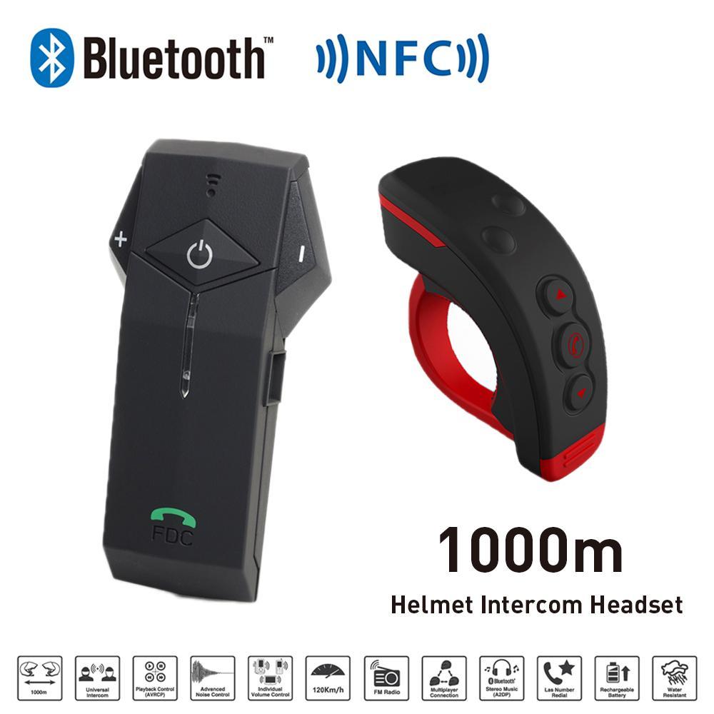 New 1000M BT Motorcycle font b Helmet b font Bluetooth Intercom Interphone Headset intercomunicador with NFC