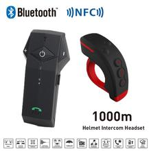 Nueva 1000 M BT de La Motocicleta Del Casco de Bluetooth Del Intercomunicador Del Interphone Headset intercomunicador con Functon + L3 NFC FM Control Remoto