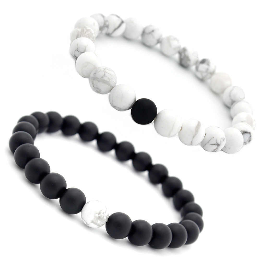 Natural stone 8MM white Howlite bracelet frosted black onyx bracelet couple bracelet yoga mala beads