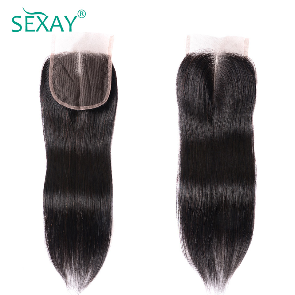 Sexay Brazilian Straight Hair Lace Closures Pre Colored Natural Black Color Brazilian Human Hair Straight 4x4