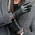 2016 otoño invierno hombre adulto clásico Botón de La Correa forro suave pantalla Táctil Inglaterra zapatos de conducción de cuero de piel de oveja caliente guantes mitones