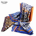 110*110 Fashion Silk Leopard Print Scarf Women Winter Infinity Bandana Ladies Big Shawls And Scarves Square Pashminas