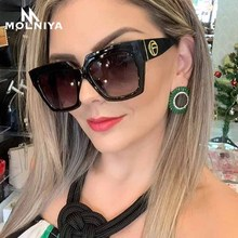 Fashion New Women Square Sunglasses Men Oversized Sun Glasses Retro Metal Hinge Frame Gradient Eyeglasses UV400