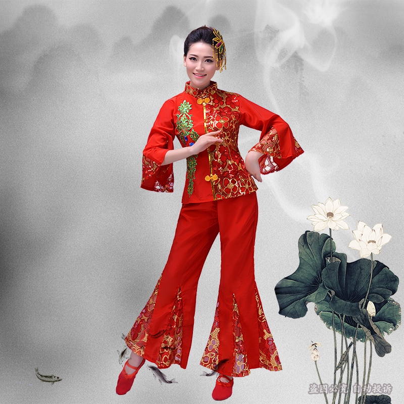 Autumn red old fan dance Chinese folk dance yangko dance clothing female stage costumes classical traditional dance