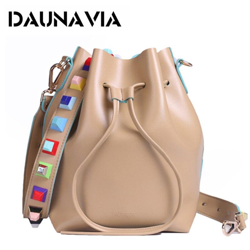 DAUNAVIA 2017 New Fashion High quality leather Women bags Rivet shoulder strap bag Designer Bucket Bag large capacity bag