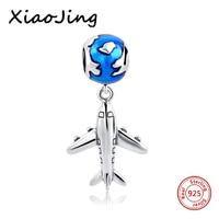 Authentic 925 Sterling Silver Bead Cute Plane With Glaze Pendant Beads Fit Pandora Charm Bracelet Bangle