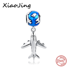 Authentic 925 Sterling Silver Bead Cute Plane With Glaze Pendant Beads Fit Pandora Charm Bracelet & Bangle DIY Jewelry