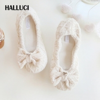 HALLUCI Semplice maglia spessa suola morbida casa pantofole carino bowknot slip on scarpe per le donne Giapponesi pistoni dell'interno donna scarpe