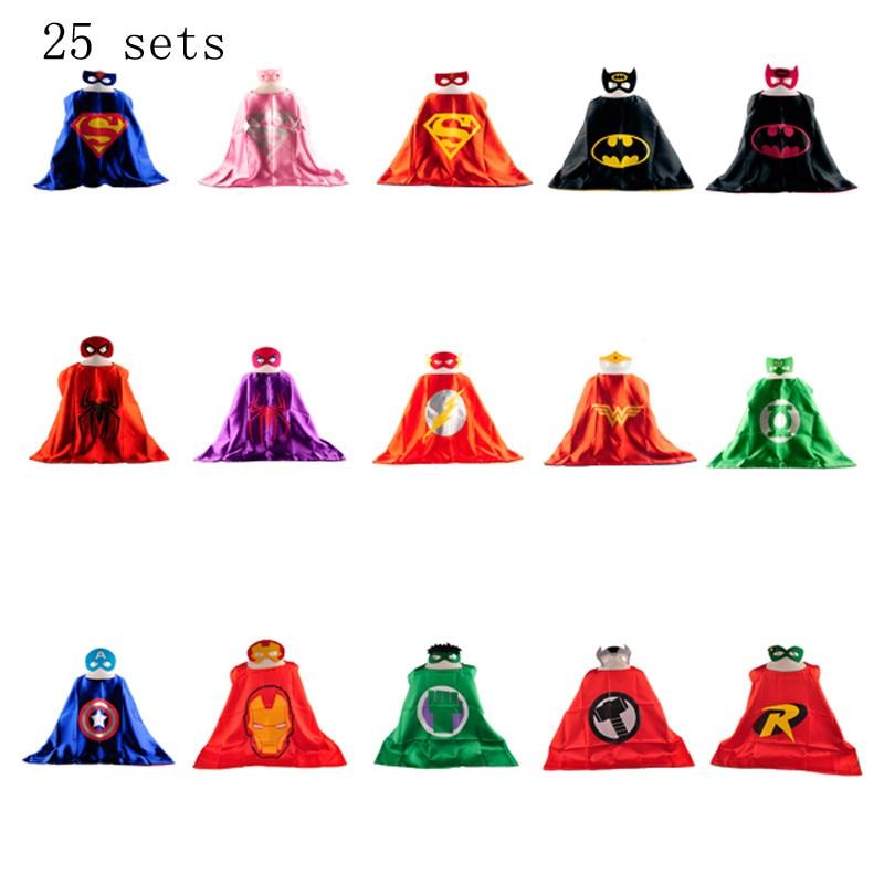 ᗗ25 conjuntos 1 cabo + 1 máscara niños Super Hero CAPES bebé traje ...