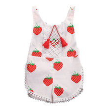 2017 Sweet Infant Baby Girls Clothes Summer Strawberry Floral Sleeveless Romper Sunsuit Tassel Outfit