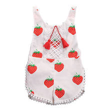 59f2c8a7c7a Kids Sunsuit Clothing Newborn Baby Girls Tassel Romper Clothes Strawberry  Sleeveless Backless Halter Jumpsuit Outfits Toddler