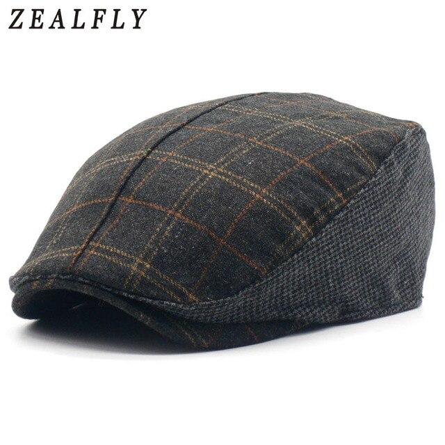 92432c4d80294d Vintage Plaid Wool Beret Hats Fashion Casual Unisex Gorras Planas Boinas  Beret Flat Caps Winter Warm Hats For Men Women