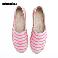 MInmclas Slipper New Alpargatas Stripe Ladies Womens Casual Espadrilles Shoes Breathable Flax Hemp Canvas for Girls
