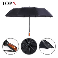 Increasing Wind 10 Bone Super Tough Automatic Men Commercial Pure Black Umbrella Umbrella Wholesale Women