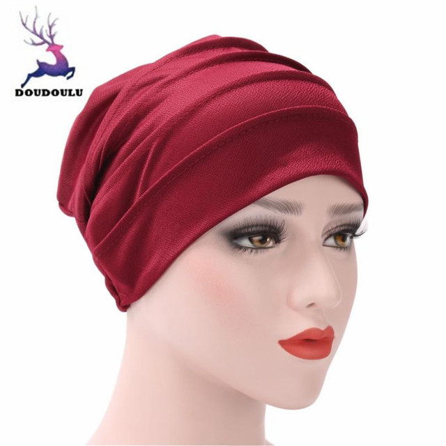 DOUDOULU Muslim Hat India Ruffle Cancer Chemo Winter Hat For women bonnet  musulman winter cap women caps Drop shipping QWM 76f15af31bee