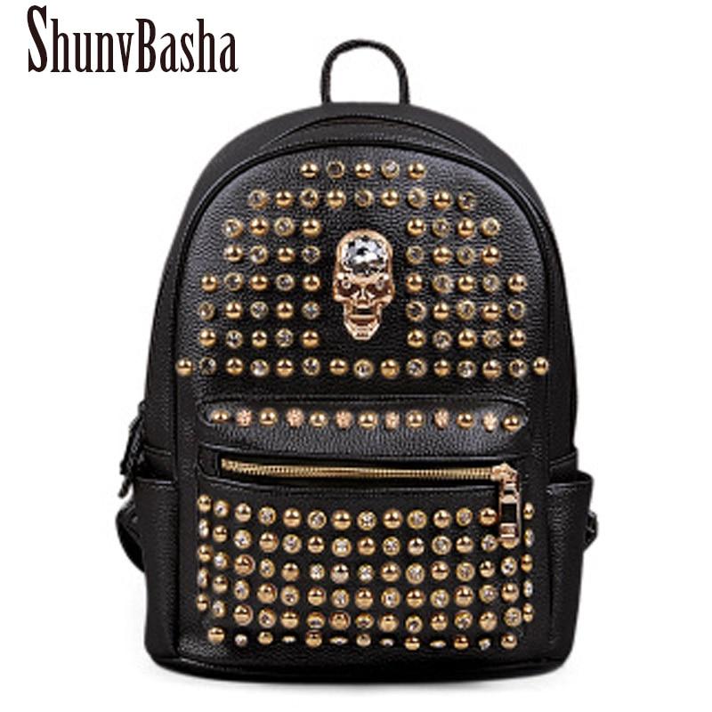 2016 Travel backpack PU leather bag preppy style student school bag solid color rivet double shoulder