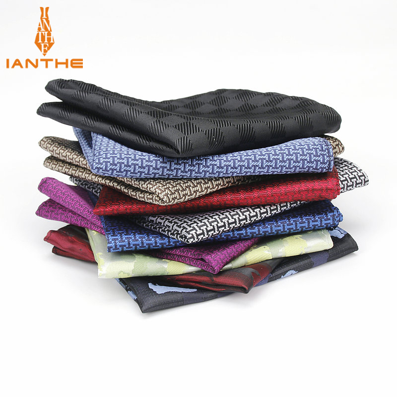 Mens Brand Pocket Square Geometric Pattern Handkerchief Fashion Hanky For Men Business Suits Hankies Towel Accessories 25cm*25cm