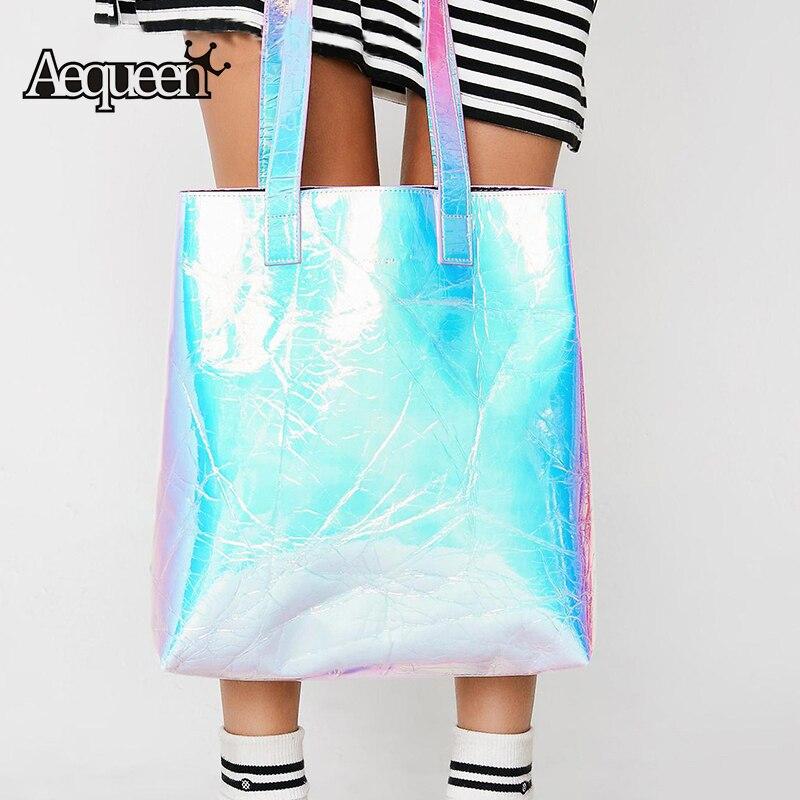 5c96f14b4 AEQUEEN mujeres bolso holograma láser PU bolso de cuero señora solo bolsos  de compras mujer de gran capacidad Tote Bolsa plata