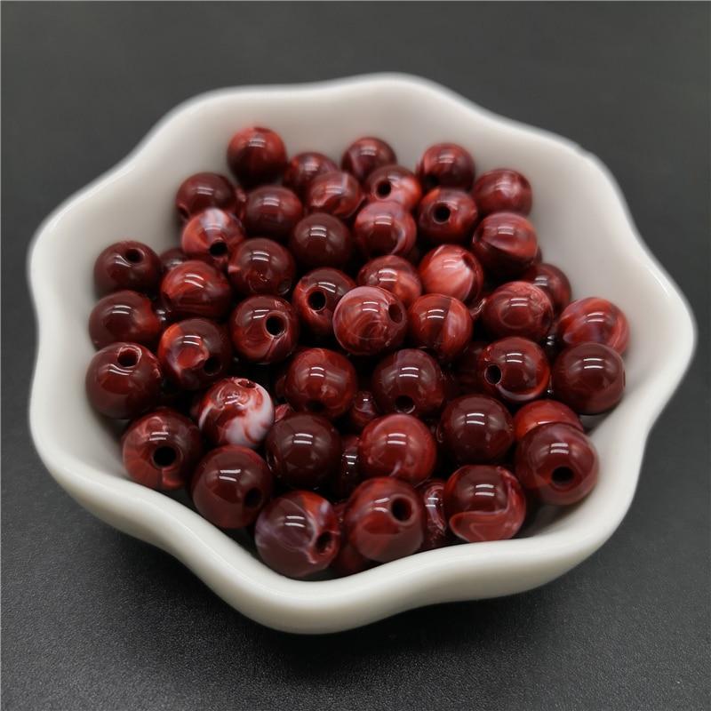 6, 8, 10 мм, Имитация натурального камня, круглые акриловые бусины с эффектом облаков, бусины для изготовления ювелирных изделий, браслет, ожерелье, аксессуары DIY - Цвет: 14-Dark Red