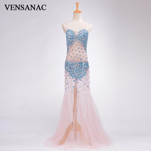 VENSANAC 2017 New A Line Crystals Strapless Long Evening Dresses Sleeveless Draped Elegant Sweep Train Party Prom Gowns