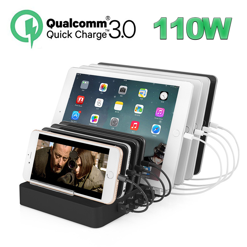 110W USB Charging Station Fast Charge, Multi Device Quick Charger Organizer 8 Port QC 3.0 Smart Identification Tech