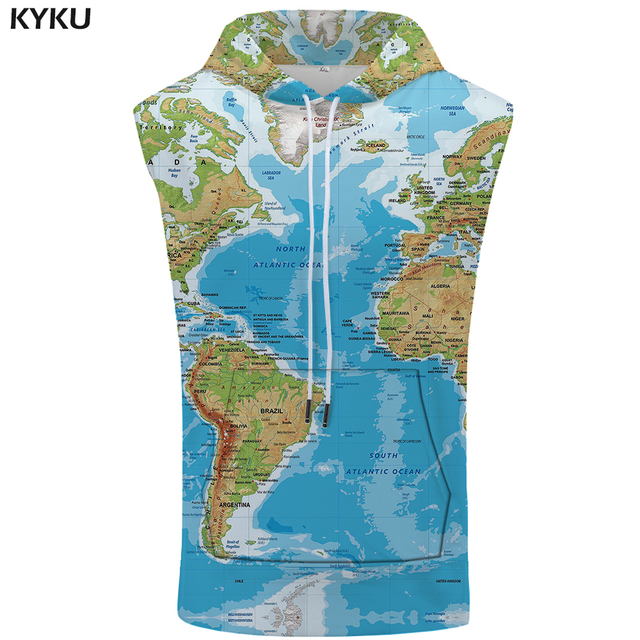 Kyku World Map Sleeveless Hoodie Funny Shirt Anime Summer Fashion