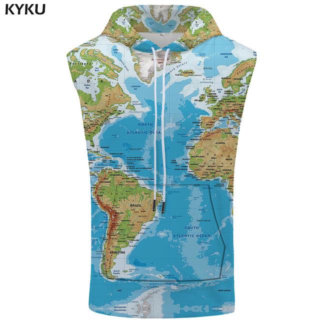 KYKU World Map Sleeveless Hoodie Funny Shirt Anime Summer Fashion Sweatshirt Bodybuilding Stringer Mens Clothing 2018 Hip Hop