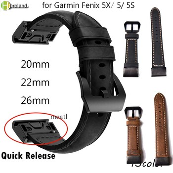 26mm 22mm 20mm Genuine Leather Easy Fit Watch Strap for Garmin Fenix 5X 5 5S Plus 3 3HR Quick Release Watchband WristBand Sport 26mm genuine nylon leather watchband for garmin fenix 5x 3 3hr quick easy fit watch band stainless steel clasp wrist strap