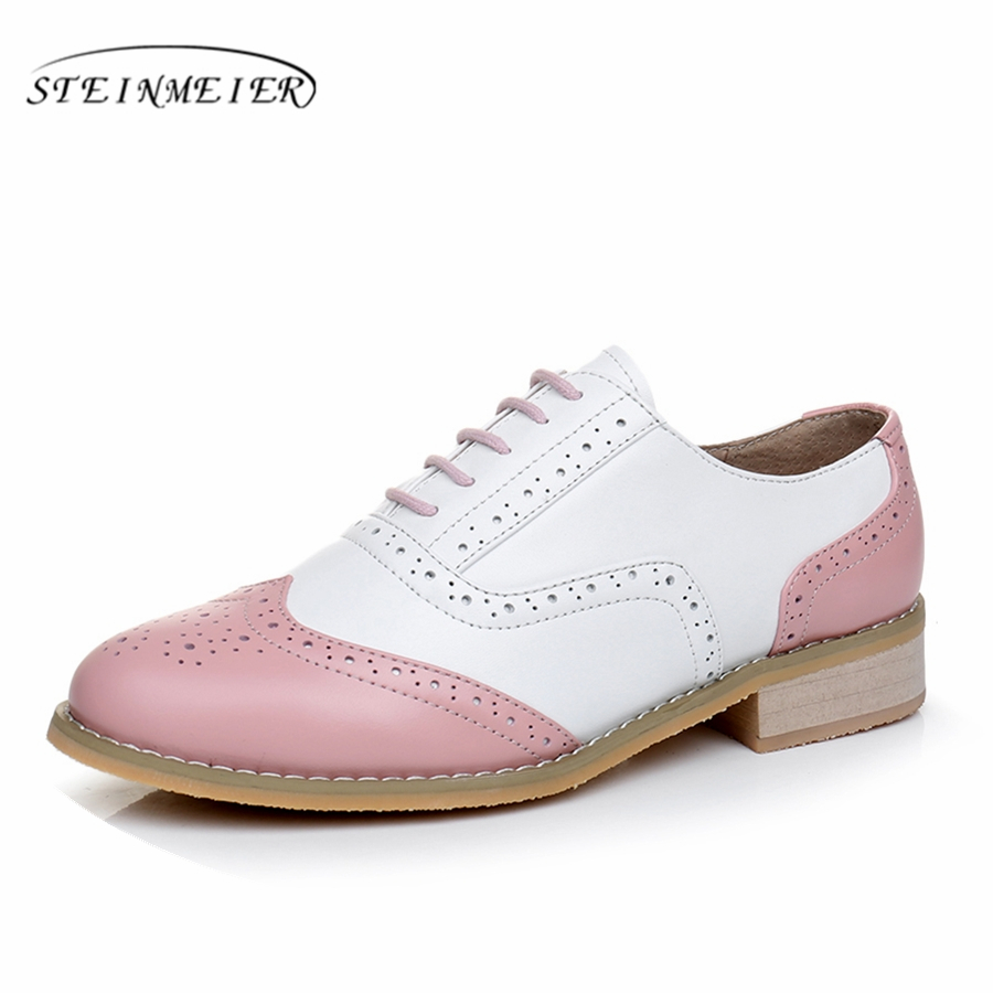 Genuine leather big woman US size 11 designer vintage flat shoes handmade white pink 2019 oxford shoes for women with fur genuine leather woman size 9 designer yinzo vintage flat shoes round toe handmade black grey oxford shoes for women 2017