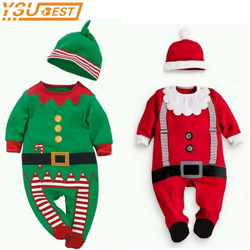 2017 Christmas Baby Boys Clothes Baby Rompers Girls Long-sleeved Rompers + Hat Cute Sets Toddler Infant Jumpsuit Suits Clothing newborn baby girls rompers fashion jeans long sleeve angel wings leisure body suit clothing toddler jumpsuit infant boys clothes