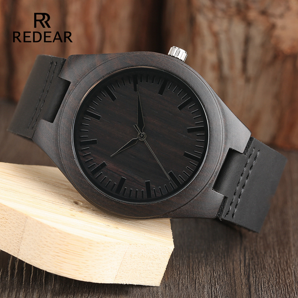 Classic Black Sandalwood Mens Watch Leather Strap Quartz Watch Lightweight Gift Watches Women Or Men Without LOGO